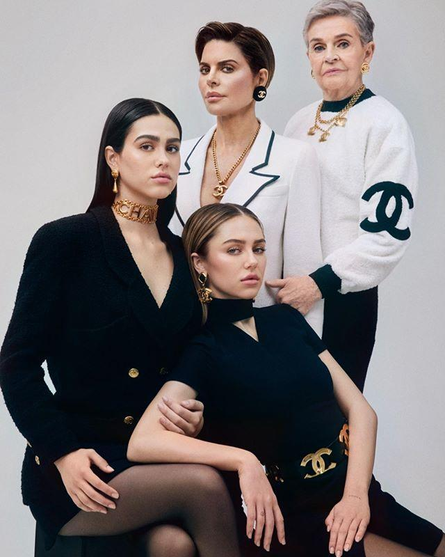 <p>Three generations of gorgeousness! The mother of two posed with her mother Lois, 91, and model daughters Amelia Gray, 19, and Delilah Belle, 22, for this epic shoot with vintage retailer What Goes Around Comes Around. </p>