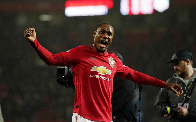 Manchester United's Odion Ighalo celebrates after the English Premier League soccer match between Manchester United and Manchester City at Old Trafford in Manchester, England, Sunday, March 8, 2020 - AP