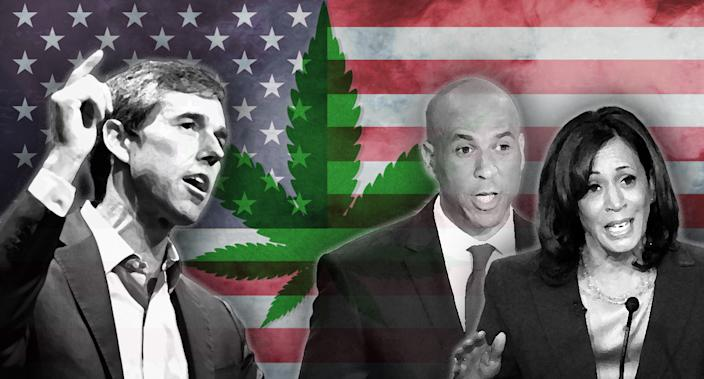 Beto O'Rourke, Cory Booker and Kamala Harris. (Photo illustration: Yahoo News; photos: AP(3), Gettty Images(2), AP)
