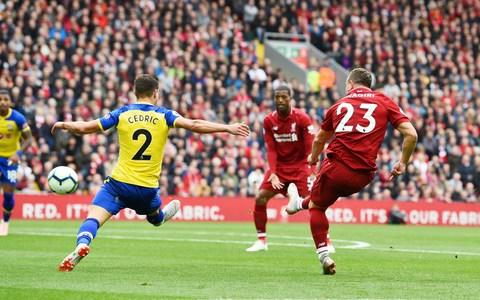 Xherdan Shaqiri of Liverpool scores the opener during the Premier League match between Liverpool FC and Southampton FC - Credit: Andrew Powell/Getty Images
