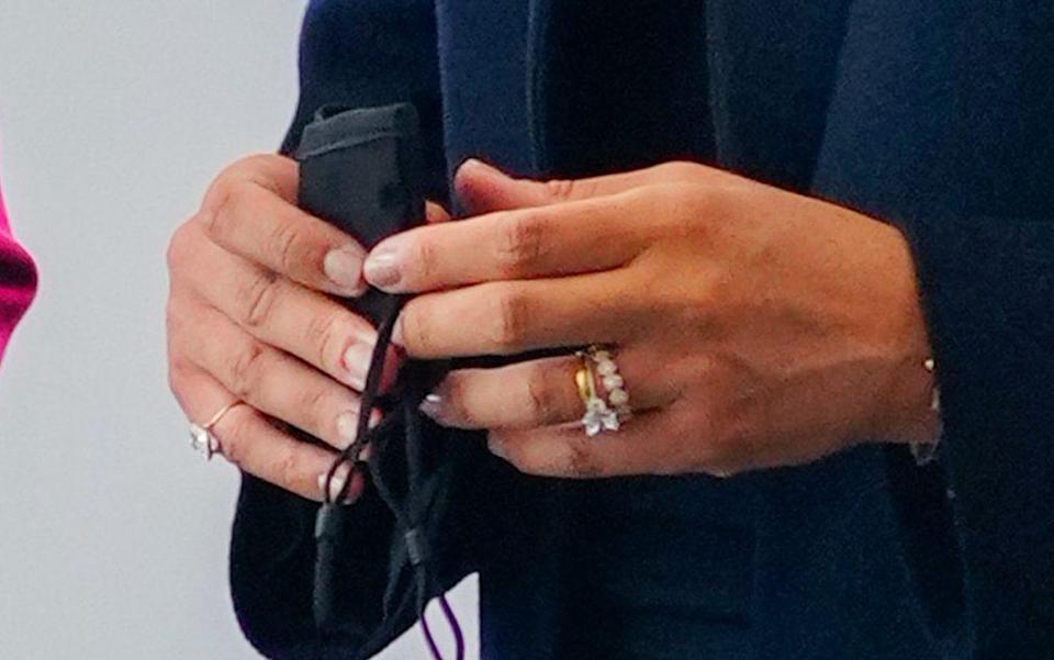 Meghan's Cleave and Company engagement ring, which has a central stone that comes from Botswana - Gotham/FilmMagic