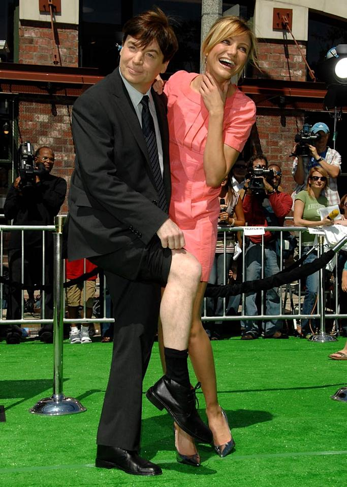 """Mike Myers cracks up his """"Shrek"""" co-star, Cameron Diaz, when he shows some leg. Lester Cohen/<a href=""""http://www.wireimage.com"""" target=""""new"""">WireImage.com</a> - May 6, 2007"""