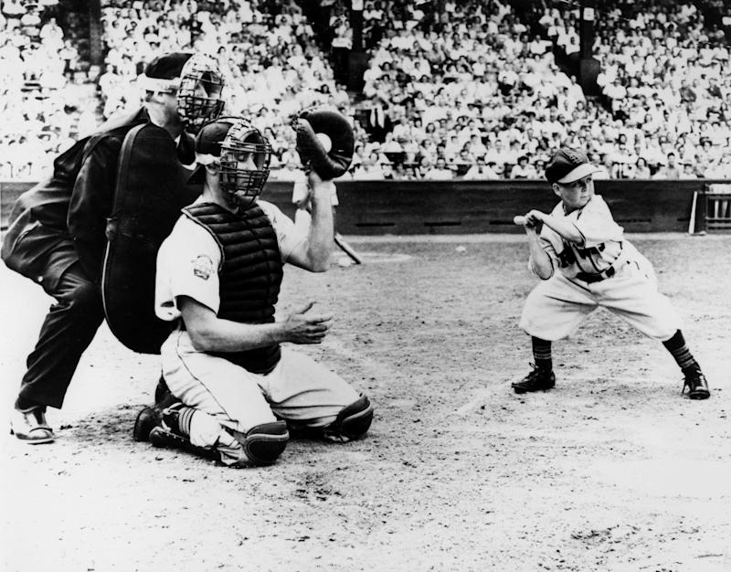 ST. LOUIS, MO - AUGUST 18: Eddie Gaedel, midget hired by St. Louis Browns owner Bill Veeck, takes a ball as he bats during a game on August 18, 1951 in St. Louis, Missouri. (Photo Reproduction by Transcendental Graphics/Getty Images)