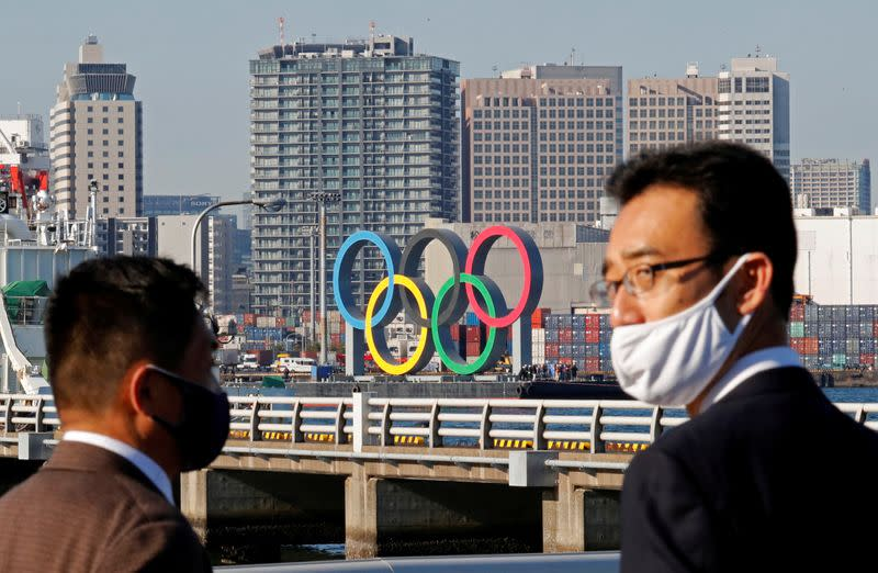 FILE PHOTO: Olympic rings reinstallation at the waterfront area at Odaiba Marine Park in Tokyo