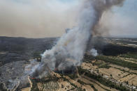 An aerial photo shows wildfires in Kacarlar village near the Mediterranean coastal town of Manavgat, Antalya, Turkey, Saturday, July 31, 2021. The death toll from wildfires raging in Turkey's Mediterranean towns rose to six Saturday after two forest workers were killed, the country's health minister said. Fires across Turkey since Wednesday burned down forests, encroaching on villages and tourist destinations and forcing people to evacuate. (AP Photo)