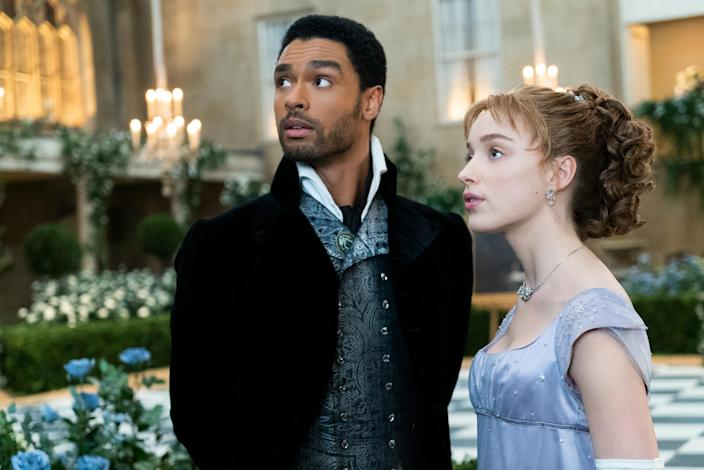 Regé-Jean Page with Phoebe Dynevor in a scene from