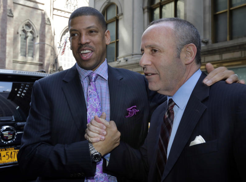 Sacramento Mayor Kevin Johnson, left, and California state Sen. Darrell Steinberg arrive for the NBA owners meetings regarding the the possible relocation of the Sacramento Kings team to Seattle, in New York, Wednesday, April 3, 2013. Hedge fund manager Chris Hansen and Microsoft Chief Executive Steve Ballmer have agreed to buy a majority stake in the Kings from the Maloof family for $341 million, but the deal needs league approval. (AP Photo/Richard Drew)