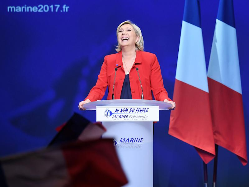 French presidential election candidate for the far-right Front National party Marine Le Pen during a campaign meeting in Paris: Getty