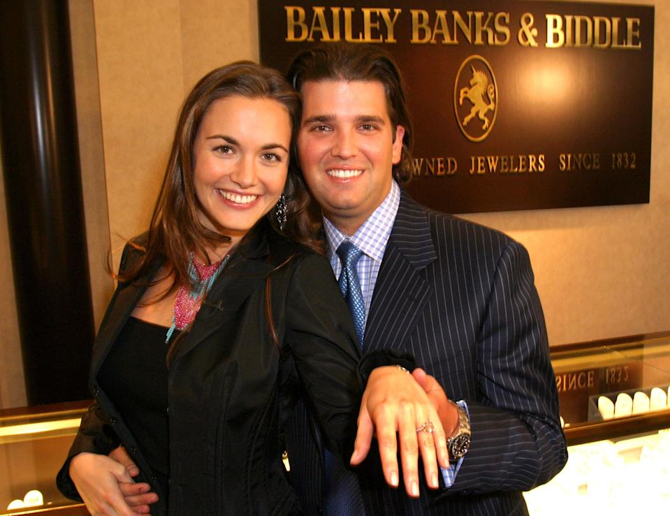"""Vanessa Haydon and Donald Trump Jr. during the """"Bailey Banks and Biddle Fine Jewelers Provides Diamond Engagement Ring for Donald Trump Jr.'s Fiancée Vanessa Haydon"""" event at Short Hills Mall in Short Hills, N.J., in 2004. (Photo: Mychal Watts/WireImage)"""