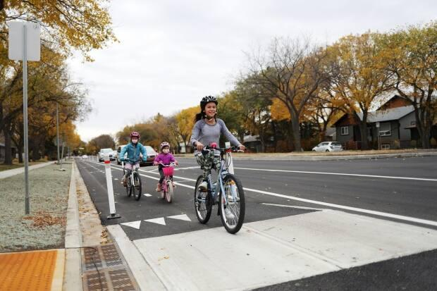 A group of children drove over the protected bike lanes along Park Street in Regina on the day they opened on October 6, 2020. When cyclists do not have a designated lane and need to be on the street, drivers will not longer be able to pass them in the same lane.