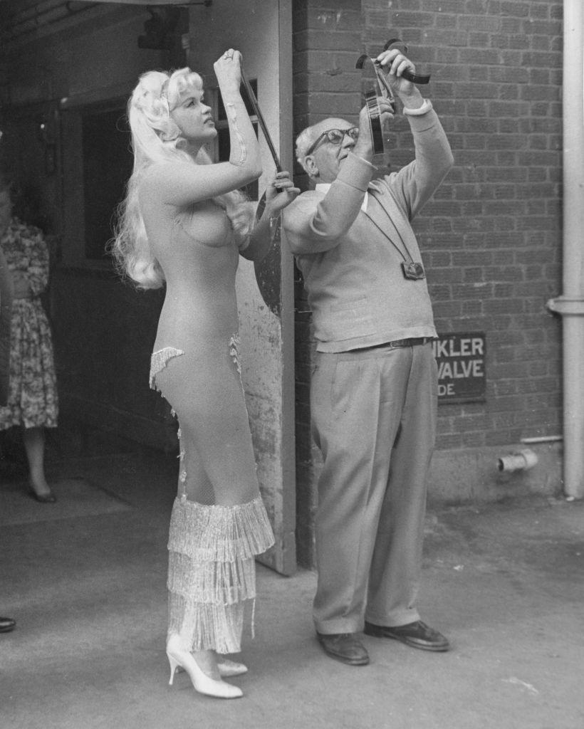 <p>Mansfield fought her first battle against film censorship in 1961, when her movie <em>Too Hot to Handle </em>had a delayed release due to a scandalous mesh dress she wore in it that made her appear nude.  </p>