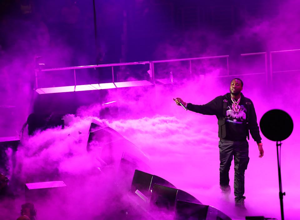 LOS ANGELES, CALIFORNIA - JUNE 21: Meek Mill performs onstage at the 2019 BET Experience STAPLES Center Concert Sponsored By Coca-Cola at Staples Center on June 21, 2019 in Los Angeles, California. (Photo by Ser Baffo/Getty Images for BET)