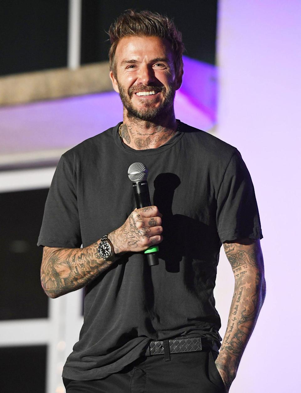 <p>David Beckham speaks during Tuesday's David Grutman Experience: The Class in Miami. </p>