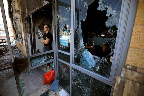 PHOTO: A restaurant in Acre, a mixed Arab-Jewish town in northwest Israel, is heavily damaged after being attacked, May 13, 2021. (Jalaa Marey/AFP via Getty Images)