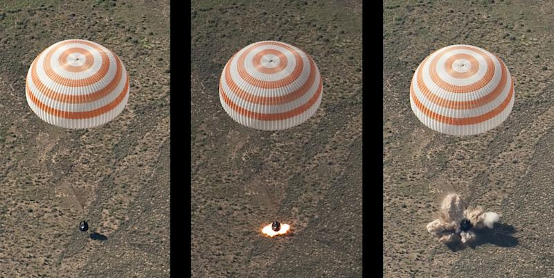 This montage of three frames shows the Soyuz TMA-17 spacecraft as it lands with Expedition 23 Commander Oleg Kotov and Flight Engineers T.J. Creamer and Soichi Noguchi near the town of Zhezkazgan, Kazakhstan on Wednesday, June 2, 2010. NASA Astronaut Creamer, Russian Cosmonaut Kotov and Japanese Astronaut Noguchi are returning from six months onboard the International Space Station where they served as members of the Expedition 22 and 23 crews. Photo Credit: (NASA/Bill Ingalls)