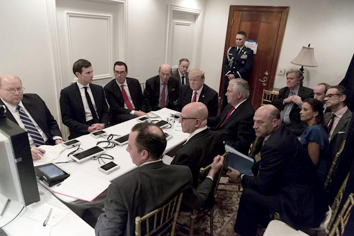 Trump receives a briefing on a military strike on Syria from his national security team on April 6, 2017, in a secure location at Mar-a-Lago in West Palm Beach, Fla. (Photo: Shealah Craighead/White House)
