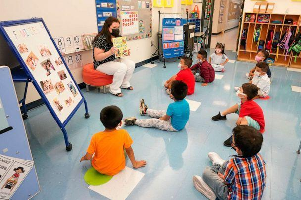 PHOTO: Pre-K teacher Vera Csizmadia teaches 3- and 4-year-old students in her classroom at the Dr. Charles Smith Early Childhood Center, Sept. 16, 2021, in Palisades Park, N.J. (Mary Altaffer/AP)