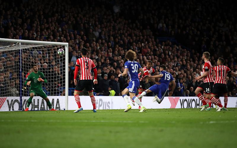 Chelsea's Diego Costa (centre right) scores his side's third goal  - PA Wire