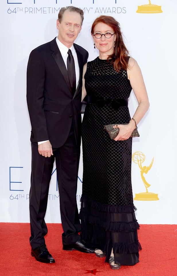 Steve Buscemi and wife Jo Andres arrive at the 64th Primetime Emmy Awards at the Nokia Theatre in Los Angeles on September 23, 2012.