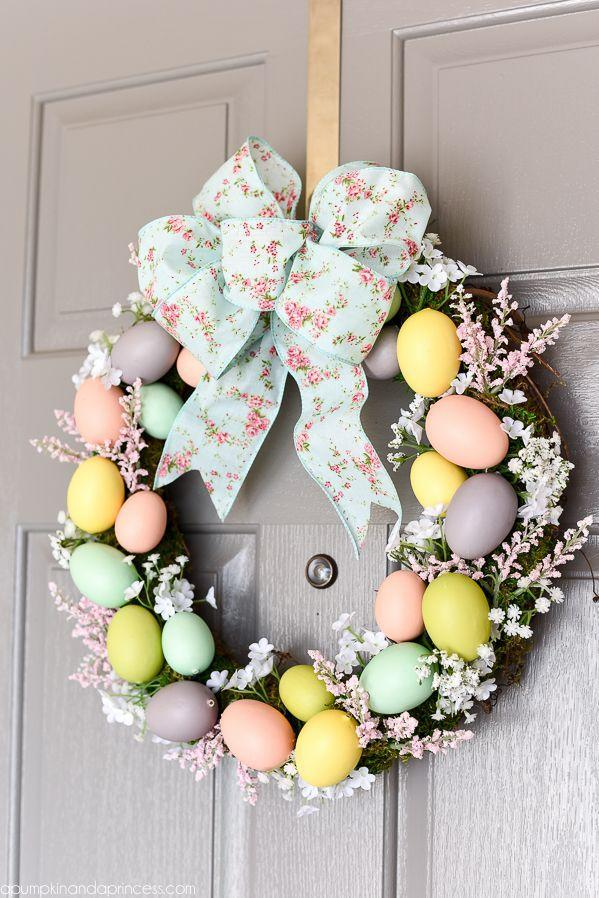 """<p>Dress up a basic grapevine wreath with pastel eggs, moss, and flowers to welcome spring right at your front door.</p><p><em><a href=""""http://apumpkinandaprincess.com/2016/03/diy-easter-egg-wreath.html"""" rel=""""nofollow noopener"""" target=""""_blank"""" data-ylk=""""slk:Get the tutorial at A Pumpkin & A Princess »"""" class=""""link rapid-noclick-resp"""">Get the tutorial at A Pumpkin & A Princess »</a></em></p><p><a class=""""link rapid-noclick-resp"""" href=""""https://www.amazon.com/Bulk-Buy-Darice-Grapevine-Wreath/dp/B0033M0HG4?tag=syn-yahoo-20&ascsubtag=%5Bartid%7C10055.g.2217%5Bsrc%7Cyahoo-us"""" rel=""""nofollow noopener"""" target=""""_blank"""" data-ylk=""""slk:BUY GRAPEVINE WREATH"""">BUY GRAPEVINE WREATH </a> <br></p>"""