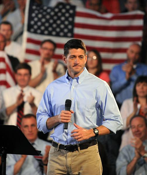 Republican vice presidential candidate, Rep. Paul Ryan, R-Wis. pauses during a campaign rally at Beaver Steel in Carnegie, Pa., Tuesday, Aug. 21, 2012. (AP Photo/John Heller
