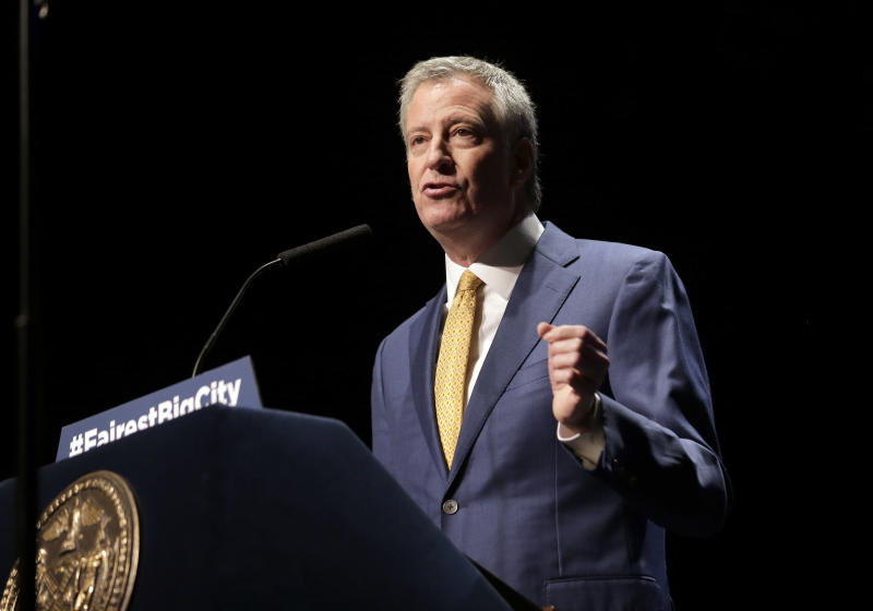 FILE - In this Jan 10, 2019, file photo, New York City Mayor Bill de Blasio speaks at his State of the City address in New York. De Blasio announced Thursday, May 16 that he will seek the Democratic nomination for president, adding his name to an already long list of candidates itching for a chance to take on Donald Trump. (AP Photo/Seth Wenig, File)