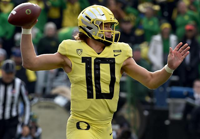 It's unclear if QB Justin Herbert will return to Oregon for the 2019 season. (Getty Images)