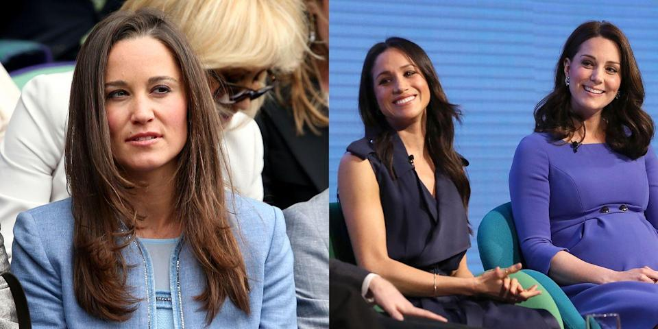 """<p>Back when her real sister, Pippa Middleton, was getting married, there was reportedly some serious tension between Pippa and Meghan Markle. It was rumored that the bride was following a """"<a href=""""https://www.glamour.com/story/heres-the-likely-reason-meghan-markle-wasnt-at-pippa-middleton-wedding-ceremony"""" rel=""""nofollow noopener"""" target=""""_blank"""" data-ylk=""""slk:no ring, no bring"""" class=""""link rapid-noclick-resp"""">no ring, no bring</a>"""" rule, which left Markle out of the picture since she and Prince Harry were only dating at this time. Markle was reportedly in attendance that day, but not for the ceremony. This must have left Kate feeling very uncomfortable. </p>"""
