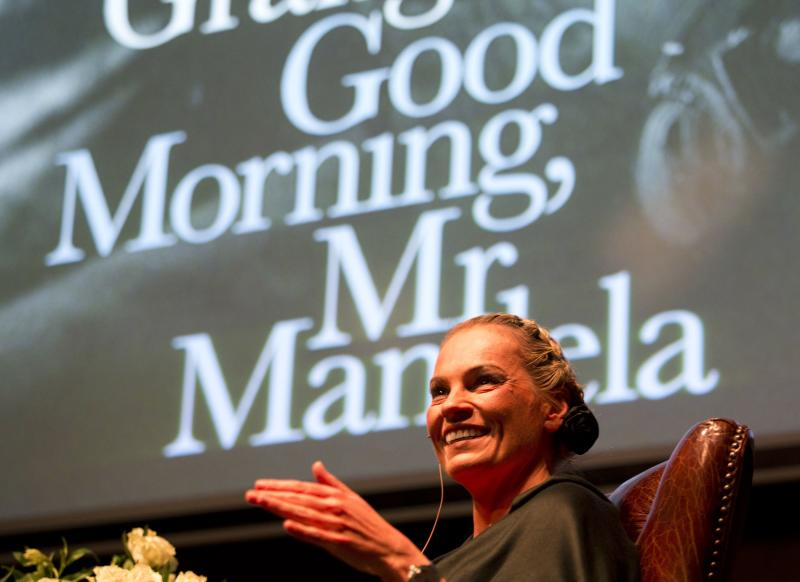 "Nelson Mandela's former private assistant Zelda la Grange speaks at the launch of her book ""Good Morning, Mr Mandela"" in Johannesburg"