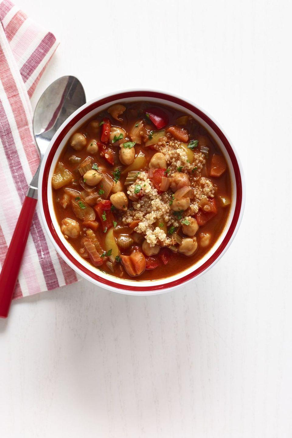 """<p>Quinoa is a great source of vegetarian-friendly protein, and combined with the chickpeas it makes this soup a hearty, protein-packed meal. </p><p><strong><em><a href=""""https://www.womansday.com/food-recipes/food-drinks/recipes/a12561/chickpea-red-pepper-soup-quinoa-recipe-wdy0214/"""" rel=""""nofollow noopener"""" target=""""_blank"""" data-ylk=""""slk:Get the Chickpea and Red Pepper Soup with Quinoa recipe."""" class=""""link rapid-noclick-resp"""">Get the Chickpea and Red Pepper Soup with Quinoa recipe.</a></em></strong></p>"""