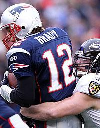 Paul Kruger sacks Tom Brady in the AFC championship game