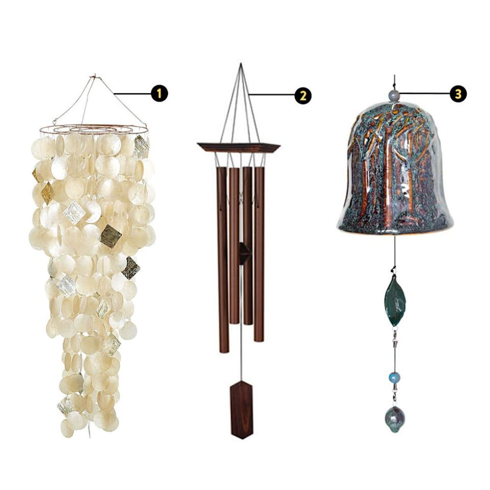 """<p><strong><em>1. Capiz Chandelier Wind Chimes, $80, <a rel=""""nofollow"""" href=""""http://www.pier1.com/Capiz-Chandelier-Wind-Chimes---Gold/3041128,default,pd.html?cgid=windchimes#start=1"""">pier1.com</a>; 2. Dot & Bo Sounds of Summer Windchime, $57, <a rel=""""nofollow"""" href=""""http://www.dotandbo.com/collections/the-handmade-hotel-in-yelapa/26604-sounds-of-summer-windchime"""">dotandbo.com</a>; Plow & Hearth Porcelain Whispering Bell Wind Chimes, $40, <a rel=""""nofollow"""" href=""""http://www.plowhearth.com/porcelain-whispering-bell-wind-chimes.htm"""">plowhearth.com</a></em></strong></p><p>Upping the energetic vibration of your entryway is one of the most beneficial things you can do for your home as a whole, since in feng shui, Carrillo says, """"it is the mouth of <em>chi</em>."""" Doing this isn't hard, however, since most of us already have one of these graceful <em>chi</em>-enhancers by our front door. </p><p>""""A wind chime is an inexpensive item that you can bring to your home's entrance. Even if you live in an apartment and can't have one outside, you can always hang one inside by the door, and you can even ring it periodically,"""" Carrillo adds. For indoor wind chimes, opt for a chandelier style adorned with shells or other delicate materials for a look that keeps this accessory consistent and logical with the rest of your space.</p>"""