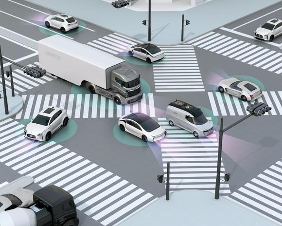 A rendering of autonomous vehicles navigating an intersection.