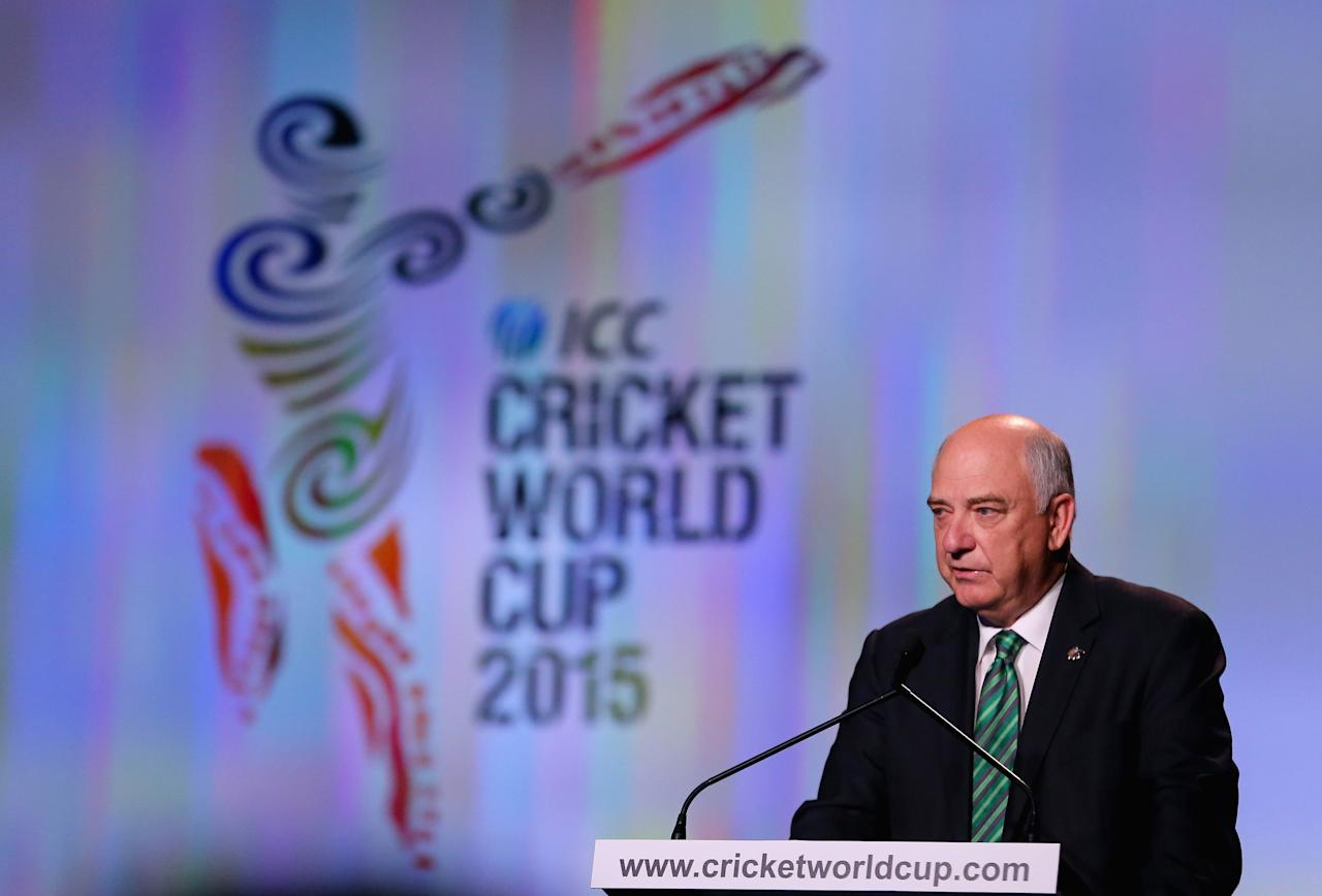 MELBOURNE, AUSTRALIA - JULY 30:  Ralph Waters, Chairman, ICC Cricket World Cup 2015 speaks during the Official Launch of the ICC Cricket World Cup 2015 on July 30, 2013 in Melbourne, Australia.  (Photo by Scott Barbour/Getty Images)