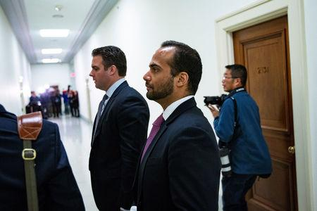 George Papadopoulos arrives to give a voluntary, transcribed interview behind closed doors before House Oversight and Judiciary Committee, on Capitol Hill