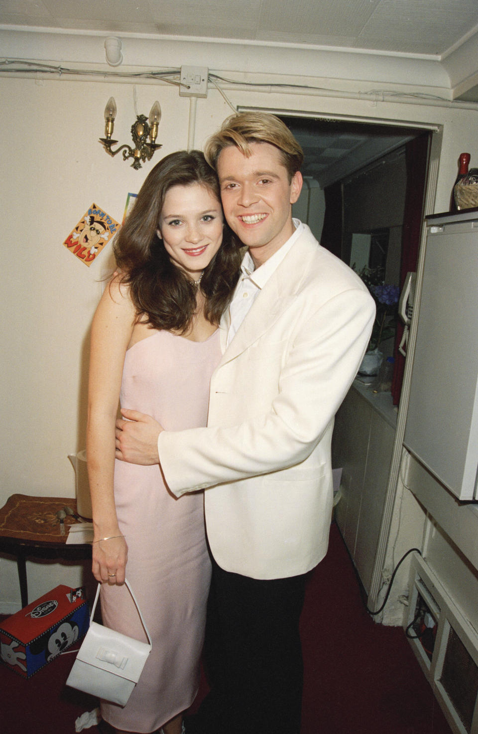 Actors Anna Friel and Darren Day at the opening performance of the musical 'Copacabana', 12th April 1995. (Photo by Dave Benett/Getty Images)