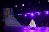 <p>Hwang Su-mi performs the Olympic Anthem during the Opening Ceremony of the PyeongChang 2018 Winter Olympic Games at PyeongChang Olympic Stadium on February 9, 2018 in Pyeongchang-gun, South Korea. (Photo by Quinn Rooney/Getty Images) </p>
