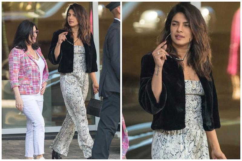Priyanka Chopra Steps Out for Dinner with Mama Jonas in Snakeskin Jumpsuit