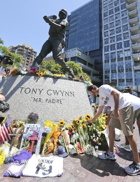 """Members of the San Diego Chargers place flowers at the base of the Tony Gwynn """"Mr. Padre"""" statue, Monday, June 16, 2014, in San Diego. Gwynn, an eight time National League batting champion with the San Diego Padres and a member of Baseball Hall of Fame, died Monday from cancer. He was 54. (AP Photo/Lenny Ignelzi)"""