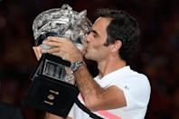 Roger Federer celebrates his 20th major title with a sixth victory at the Australian Open (AFP Photo/SAEED KHAN)