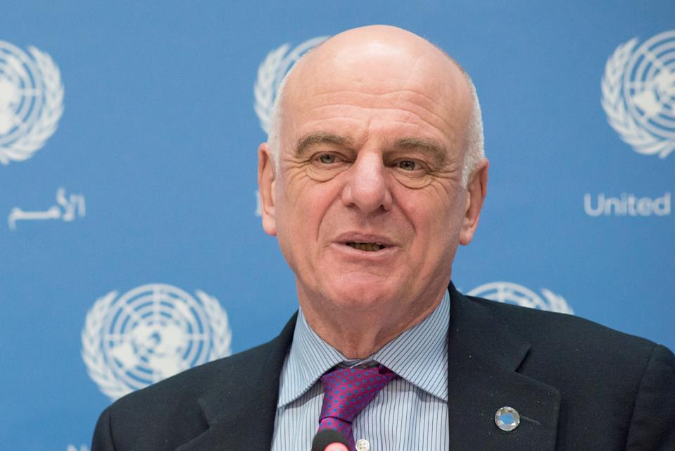 UN HEADQUARTERS, NEW YORK, NY, UNITED STATES - 2016/04/19: David Nabarro responds to a member of the press. Selwin Hart, Director of the Secretary-General's Climate Change Support Team, and Dr. David Nabarro, Special Adviser on 2030 Agenda for Sustainable Development, held a press conference at UN Headquarters to discuss the upcoming Global Climate Agreement Signing Ceremony (April 22) and to detail the mechanisms of its implementation. (Photo by Albin Lohr-Jones/Pacific Press/LightRocket via Getty Images)
