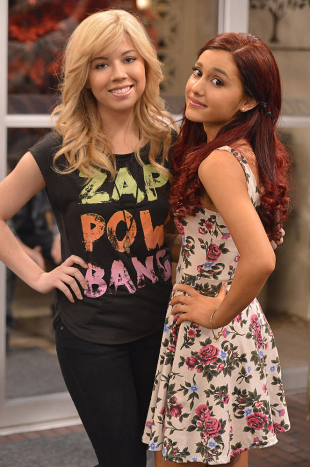 "Sam Puckett (Jennette McCurdy) and Cat Valentine (Ariana Grande) in the ""Sam & Cat"" episode, ""#TheBritBrats."""
