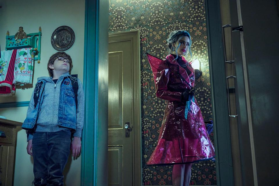 """""""Nightbooks"""" (Netflix): Based on the J.A. White book, the kid-friendly horror film stars Winslow Fegley as a New York boy imprisoned by an evil witch (Krysten Ritter) and forced to tell her a new scary story every night to survive."""