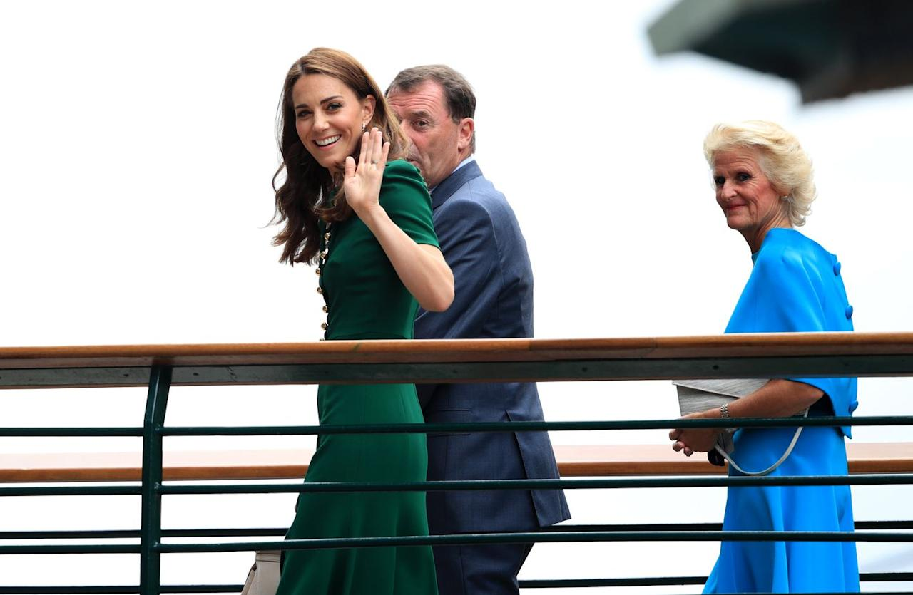"<p>Kate arrives at Wimbledon 2019 wearing a green Dolce & Gabbana dress, which the duchess previously wore back in 2016 during her <a href=""https://www.vanityfair.com/style/2016/09/kate-middleton-dolce-gabbana-green-dress-canada-tour"" target=""_blank"">royal tour of Canada</a>.</p>"
