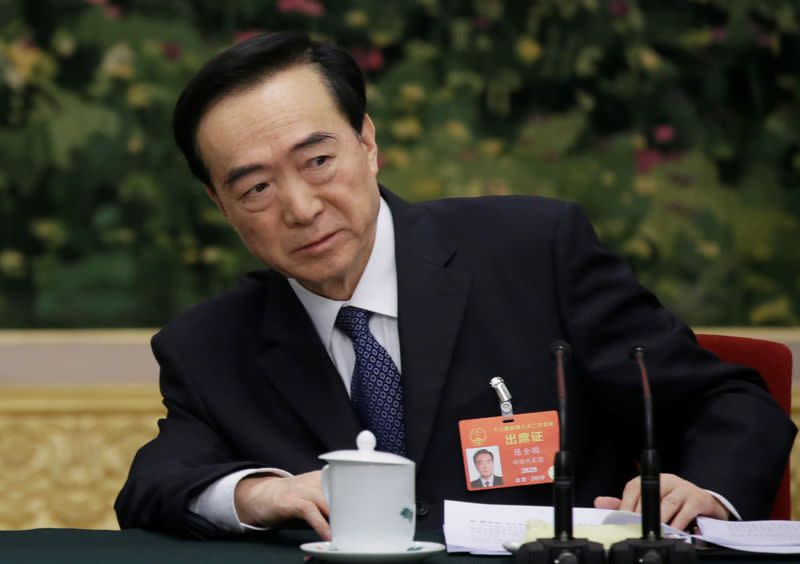 Chen Quanguo, Communist Party Secretary of Xinjiang Uighur Autonomous Region, attends the meeting of Xinjiang delegation on the sidelines of the NPC in Beijing