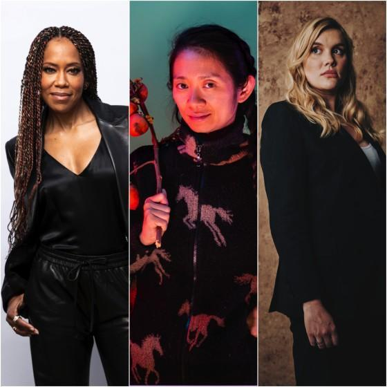 A triptych of Directors Regina King, Chloe Zhao, and Emerald Fennel