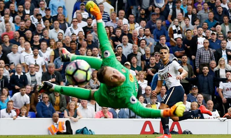 Jordan Pickford, saving here from Tottenham's Érik Lamela, will be sold for a high price if – or more likely when – Sunderland go down.