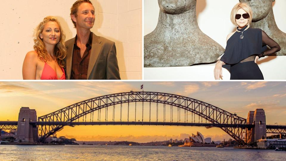 Justin Hemmes on the top left, Carla Zampatti on the top right and the Sydney Harbour Bridge on the bottom of a composite image.