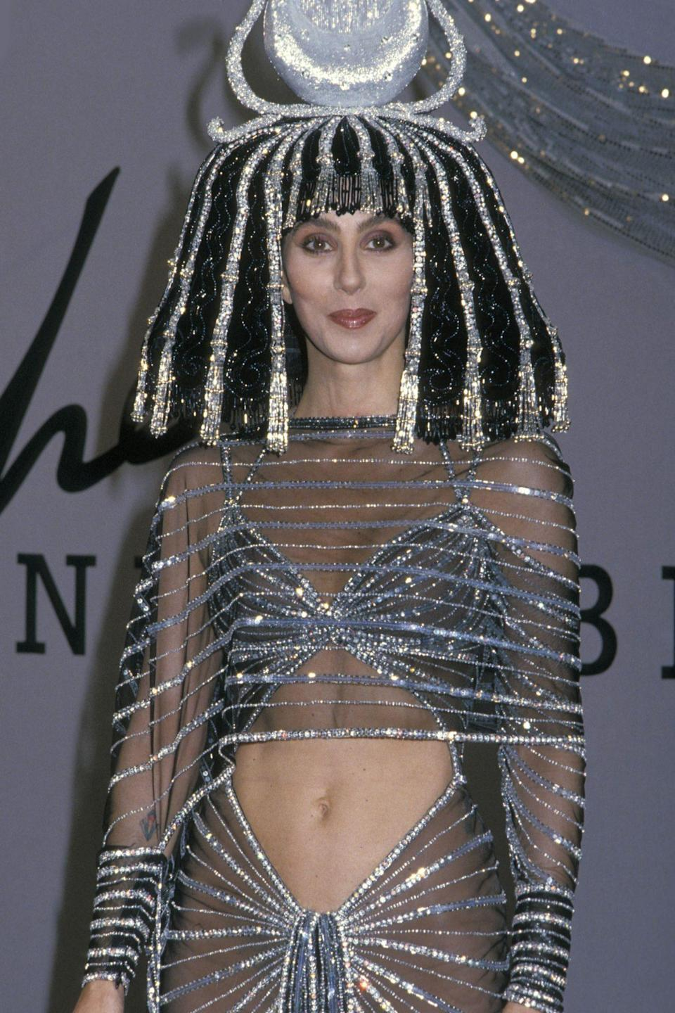 <p>Cher channeled Cleopatra when she attended Bob Mackie's Halloween party in 1988. </p>