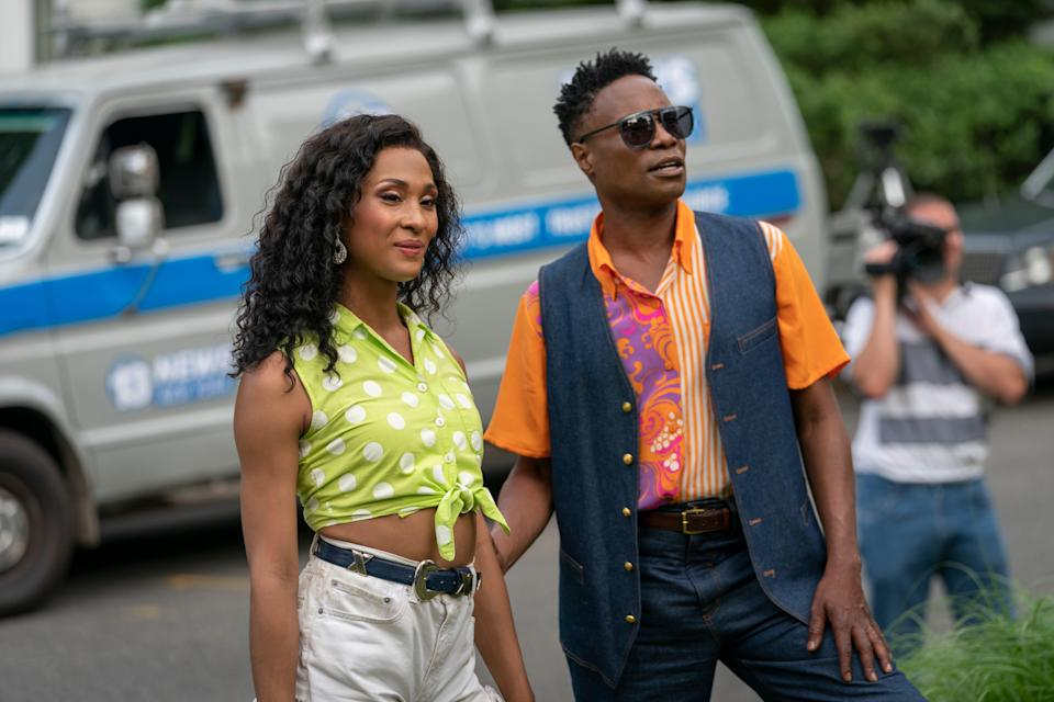 """Mj Rodriguez, left, and Billy Porter played characters involved in New York's 1980s drag ball scene in FX's """"Pose."""" Porter became the first openly gay Black man to win a lead-actor Emmy for his portrayal of emcee and fashion designer Pray Tell."""